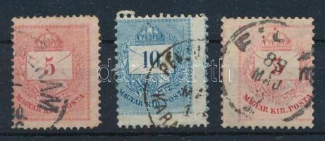 3 db elfogazott / képbe fogazott Krajcáros bélyeg