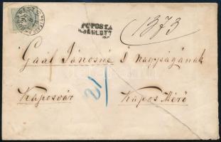 1876 Színesszámú 20kr 13-as fogazással távolsági levélen BUDAPEST / DÉL UTÁN (12.000)