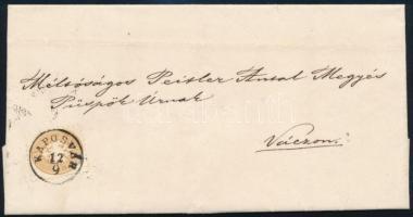 1864 Távolsági levél 15kr KAPOSVÁR - Vác