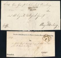 1851 Exoffo levél PRESSBURG - Magyaróvár + 1855 Távolsági levél OEDENBURG - KAPOSVÁR