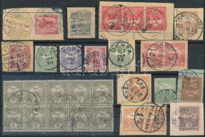 30 db Turul bélyeg részben kivágásokon közte tízes tömb, szép / érdekes bélyegzések