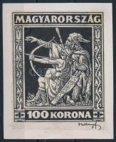 1924 Jótékonyság 100K feketenyomat hártyapapíron, nagy méretben, papírlapra ragasztva