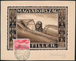 1935 Helbing bélyegterv aláírással Repülő 20f bélyeggel és alkalmi bélyegzéssel