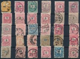 1871-1874 34 db bélyeg, közte 2 db kivágás sok olvasható bélyegzésekkel, 2 db stecklapon