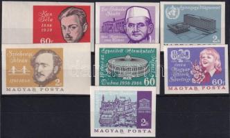 1966 Évfordulók - Események (IV.) 7 klf vágott bélyeg (10.500)