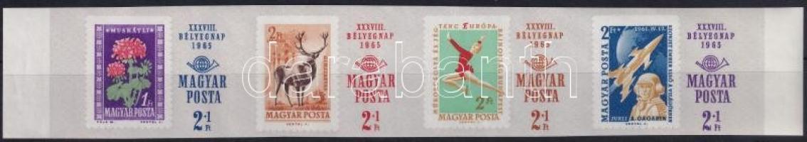 1965 Bélyegnap (38.) ívszéli vágott 4-es csík(4.000)