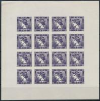 1851 Merkúr Hírlapbélyeg utánnyomat az 1933 évi WIPA bélyegkiállításra, lila színű 16-os kisív (ívszéli ráncok)
