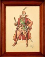 Olvashatatlan jelzéssel: Gömbös Gyula miniszterelnök karikatúrája. Akvarell, tus, papír. Üvegezett fa keretben. 31x23 cm