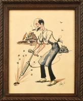Olvashatatlan jelzéssel: gróf Bethlen István (1874-1946) karikatúrája. Akvarell, tus, papír. Üvegezett fa keretben. 30x23 cm