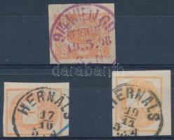3 db Hírlapbélyeg osztrák érkezési bélyegzésekkel