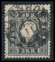 1858 3kr fekete I. tipus BAHNHOF PESTH (45.000)