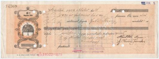 Szántód 1929. kitöltött váltó okmánybélyegekkel, bélyegzésekkel, lyukasztással érvénytelenítve T:III