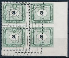 1953 50 éves a magyar portóbélyeg 8f látványosan elfogazott ívsarki négyestömb