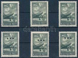 1957 Az 1950-es Repülő záróértéke 3 db bélyeg + 3 db bélyeg hármaslyukasztással (15.600)