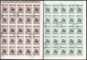 1955 Bartók Béla (I.) 1Ft barna és zöld teljes 50-es hajtott ív, mind a kettőn a 46. ívhelyen összekötő vonal az L és az A között lemezhibával (17.220)