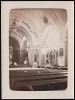 1919 Felsővadas (Szlovákia), Thciszky Béla feliratozott vintage fotója a település templomáról, 12x9 cm