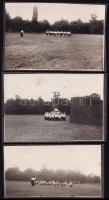 cca 1925 Mozgásművészeti óra lányoknak, 3 db vintage fotó, albumból kiemelve, 7x10,7 cm és 5,5x10 cm