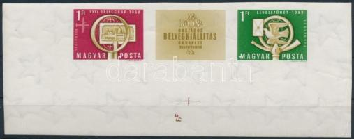 1958 Bélyegnap vágott ívsarki hármascsík óriási ívszéllel / Mi 1553-1554 imperforate corner stripe of 3