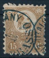 1871 Kőnyomat 15kr sárgásbarna színben, BRASSÓ / (PÉ)NZUTALVÁNY (35.000)