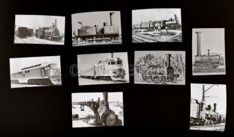 Vasúttörténeti felvételek, Kotnyek Antal (1921-1990) budapesti fotóriporter hagyatékából 9 db NEGATÍV, 5,8x4,3 cm és 3,5x6,3 cm között