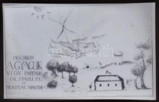1772 Agyaglik puszta birtoktérképe Pápa mellett, Kotnyek Antal (1921-1990) budapesti fotóriporter hagyatékából 1 db NEGATÍV, 4x6,2 cm