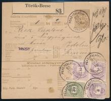 1892 Pénzutalvány 4 bélyeges bérmentesítéssel / PS-money order PÉNZUTALVÁNY / TÖRÖK-BECSE - Podolin
