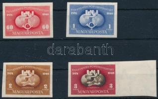 1949-1950 UPU vágott sor + blokkból kivágott bélyeg (**14.500)