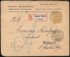 1891 Budapesti helyi ajánlott levél 8kr bérmentesítéssel, visszaküldve