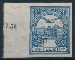 1913 Turul 25f ívszéli vágott bélyeg fekvő vízjellel (ebben a formában nem adták ki) az értékszám jelentős elcsúszásával, nagyon ritka! / Mi 118Y imperforated margin piece with shifted number, not listed in the Hungarian catalog