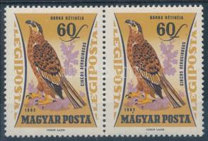 1962 Madarak 60f pár, a jobb oldali bélyeg ékezet lemezhibával / Mi 1883 pair with plate variety