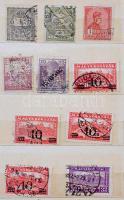 21 magyar és 37 külföldi céglyukasztásos bélyeg + magyar szükségportó négyestömb kis berakóban