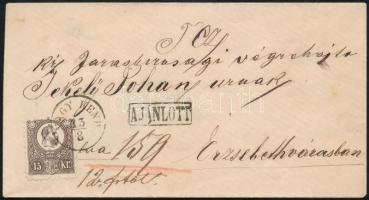 1873 15kr ajánlott levélen / on registered cover NAGY KEND