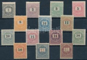1888-1889 Feketeszámú krajcáros 14 klf bélyeg, köztük elektrotip 1Ft is, R! (~86.000)