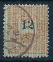 1889 12kr bélyeg látványosan elcsúszott értékszámmal