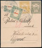 1916 Turul 2f és 6f képeslap darabon, megportózva 1f és felezett, talán 6f bélyeggel / 2f + 6f on piece of postcard with 1f and bisected (maybe 6f) postage due stamps