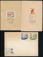 12 db elsőnapi és emlékbélyegzés + 1 db portós küldemény, közte magyar-angol bélyegzés