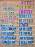 Vegyes külföldi bélyegek több példányos rendezőben, kevés forgalmi magyar bélyeggel, 15 lapos nagyalakú berakóban