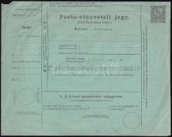 1871 10kr díjjegyes postautánvételi jegy, használatlan / PS-money order, unused