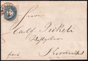 1865 10kr levél darabon / on cover piece KRONSTADT