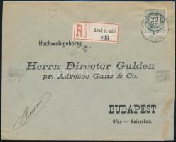 1897 20kr ajánlott levélen / on registered cover ARAD / P.UD - Budapest
