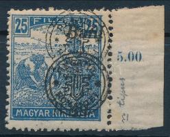 Nagyvárad 1919 Arató 25f n típus, kettős felülnyomással / Mi 34 II. with double overprint. Signed: Bodor