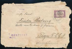 1919 Kolozsvár 50f bélyeg Argentínába küldött, viseltes levélen, érkezési bélyegzéssel, Bodor vizsgálójellel.  Rendkívül ritka desztináció!