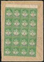 1946 (26. díjszabás) Hivatalos távolsági levél 20 x 5ezer AP bérmentesítéssel Kiskunlacháza - BUDAPEST