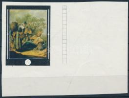 1969 Festmények (VII.) 60f ívsarki vágott bélyeg az arany keret nélkül
