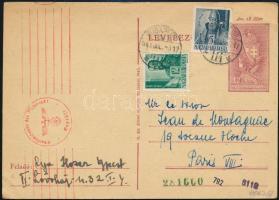 1943 Cenzúrázott levelezőlap Párizsba / Censored postcard to Paris