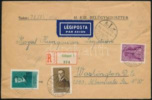 1940 Ajánlott légi levél Washingtonba / Registered airmail cover to Washington