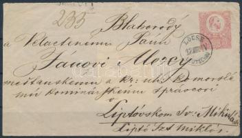 ~1871 5kr díjjegyes level előlap luxus LÖCSE / LEUTSCHAU bélyegzéssel (Gudlin 500 p)