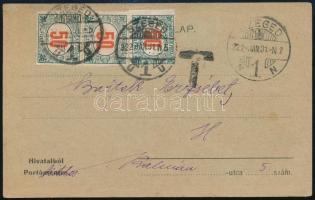 1922 Szeged helyi portós levelezőlap / Local postcard with postage due