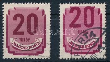 1946 Forint-fillér portó 20f elcsúszott értékszámmal / Mi P 181 with shifted number