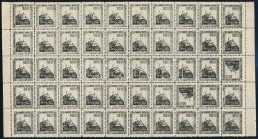 Nyugat-Magyarország VII. 1921 60f 50-es ívben, benne a 80. és 88. bélyeg fordított állású (30.000) / Mi 73 block of 50. Signed: Bodor